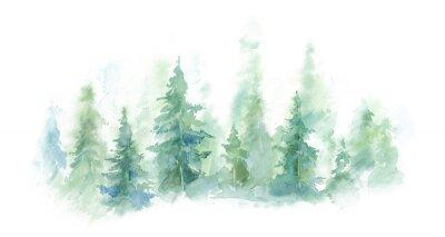 Plakat Zielony krajobraz mgłowy las, zimy wzgórze. Dzika przyroda, zamarznięta, mglista, tajga. tło akwarela