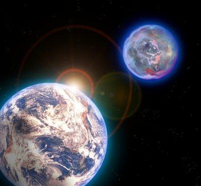 Plakat Ziemia z tajemniczej planety w tle