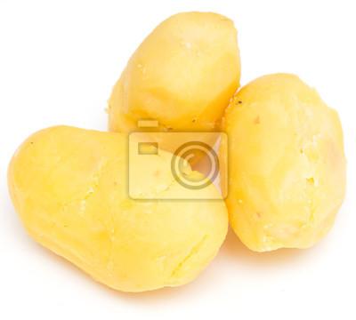 Plakat ziemniaki gotowane na białym tle