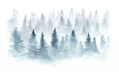 Plakat Zima las w mgle malował w akwareli.