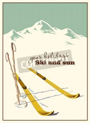 Plakat Zima w tle. Góry i sprzęt narciarski w śniegu