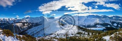 Plakat Zimowa panorama Tatr Zachodnich, widok z Grzesia na Wołowiec i okoliczne szczyty
