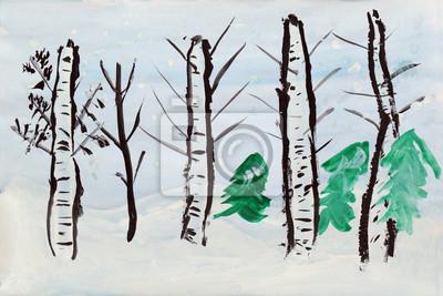 04d43a50bb0613 Plakat Zimowy krajobraz, rysunek dziecka na wymiar • sztuka, tło ...