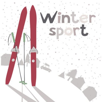 Plakat Zimowy krajobraz z narciarskich