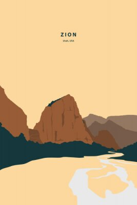 Plakat Zion national park Utah characteristic nature scenery view. Vector illustration drawing of my own.
