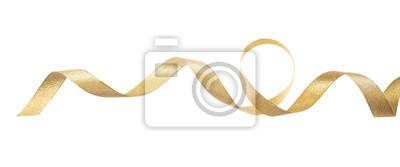 Plakat Złota atłasowa faborek odizolowywająca na białym tle, sztandar