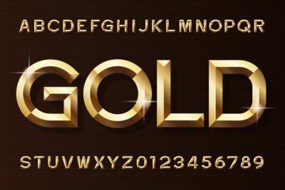 Plakat Złota czcionka alfabetu. 3d fazowane złote litery i cyfry efektu. Wektor maszynopis do projektowania.