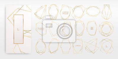 Plakat Złota kolekcja geometrycznego wielościanu, stylu art deco na zaproszenie na ślub, luksusowe szablony, wzory dekoracyjne, ... Nowoczesne elementy abstrakcyjne, ilustracji wektorowych, odizolowane na tl