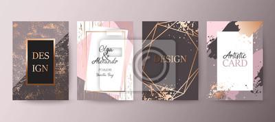 Plakat Złota, różowa broszura, ulotka, zaproszenie, karty