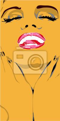 Plakat Złoto Beuaty dziewczyna twarz z Czerwone usta i białe zęby.