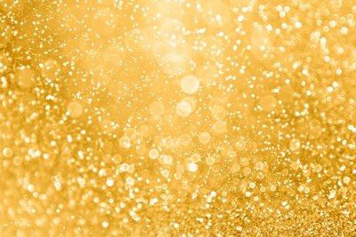 Plakat Złoty brokat blask tekstura tło glam na złote iskry świąteczne, rocznicę ślubu lub urodziny