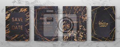 Plakat Złoty, czarny, biały marmur szablon, projekt okładki artystyczne, kolorowe tekstury, realistyczny sześcian, tła. Modny wzór, plakat graficzny, geometryczne broszury, karty. Ilustracji wektorowych.