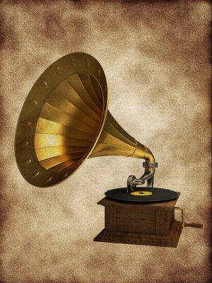Plakat Złoty gramofon na starym tle