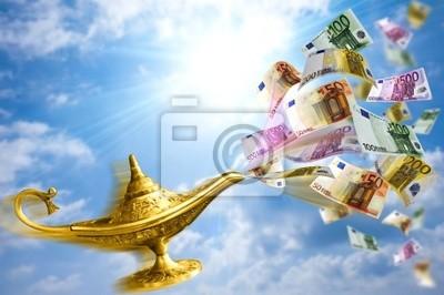 Plakat Złoty lamp i pieniądze