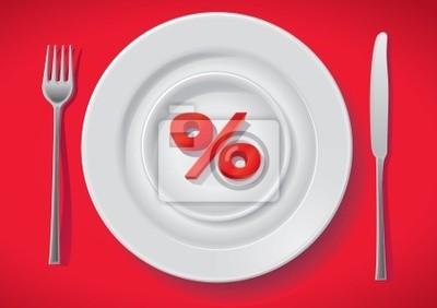 znak procent na białym talerzu