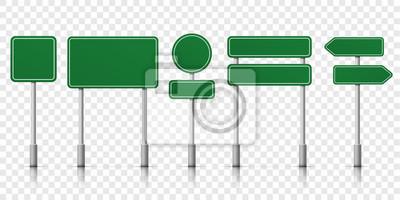 Plakat Znaki drogowe zielone wektorowe szablon ikony