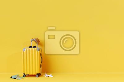 Plakat Żółta walizka z słońc szkłami i kapeluszem na żółtym tle. Renderowania 3D. koncepcja podróży. minimalny styl