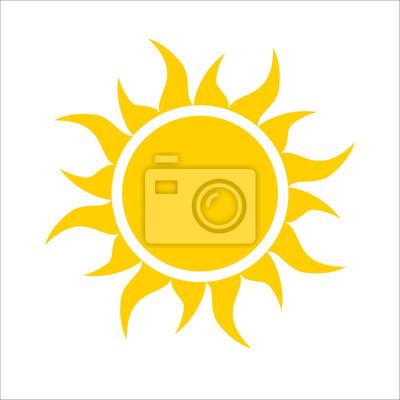 Plakat Żółte ikony słońce na białym tle. Proste płaskie światło słoneczne, podpisać. Trendy wektor latem symbol projektu strony internetowej, przycisk internetowej, aplikacji mobilnej. Logo ilustracji