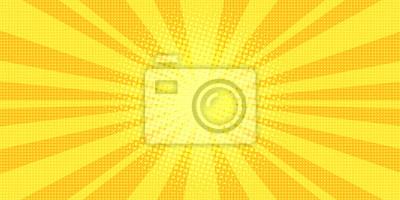 Plakat żółte promienie pop-artu