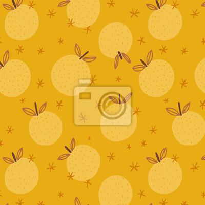 Żółty wzór seamles jabłko wektor