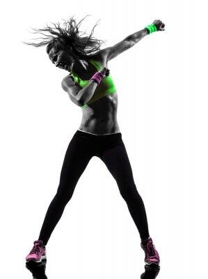 Plakat Zumba kobieta wykonywania ćwiczeń sylwetka taniec
