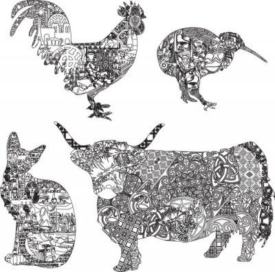 Plakat zwierzęta w etniczne ozdoby