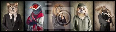 Plakat Zwierzęta w ubraniach. Koncepcja grafiki w stylu vintage. Wilk, ptak, lew, pies, słoń.