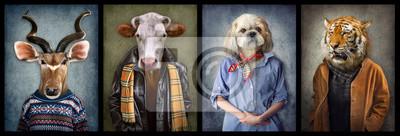 Plakat Zwierzęta w ubraniach. Ludzie z głowami zwierząt. Grafika koncepcyjna, manipulacja zdjęciami na okładkę, reklama, nadruki na odzieży i inne. Antylopa, krowa, pies, tygrys.