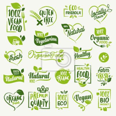 Plakat Żywność ekologiczna, świeże i naturalne naklejki na produkty gospodarstwa domowego i odznaki identyfikacyjne dla rynku żywności, e-commerce, promocja produktów ekologicznych, zdrowe życie i wysokiej j