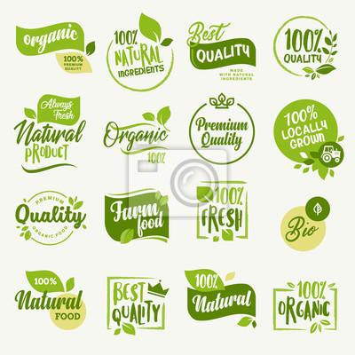 Plakat Żywność ekologiczna, znaki i elementy świeżego i naturalnego oznakowania produktów rolnych na rynku żywności, e-commerce, promocja produktów ekologicznych, zdrowe życie i wysokiej jakości potrawy i na