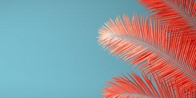 Plakat Żywy koralowy kolor roku 2019. Tło z palmą w modnym kolorze