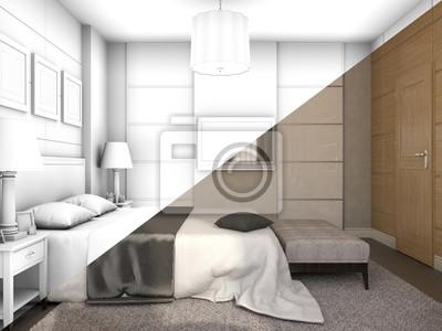 3d Ilustracji Projektowania Sypialni W Kolorze I Bez Tekstur Tapety Redro