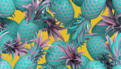 Tapeta 3d rendering of bright tiki style seamless pattern with pineapples. Summer fun background. Trendy poster with vivid colors, pastel blue.