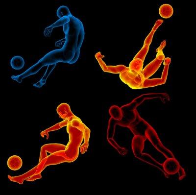 Tapeta 3d renderowania ilustracji ludzkiego kopanie piłki