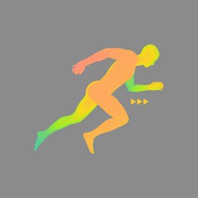 Tapeta 3d Running Man. Ikona sportu. Low-poly Man in Motion.