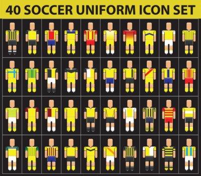 Tapeta 40 piłka nożna żółta jednolity zestaw ikon