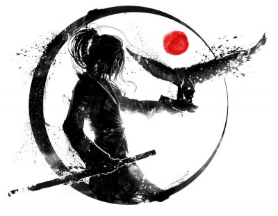 Tapeta A beautiful young Asian samurai girl with long hair stands in profile holding one hand on a katana and the other outstretched in front of her, an eagle sits on it. 2d ink-style illustration