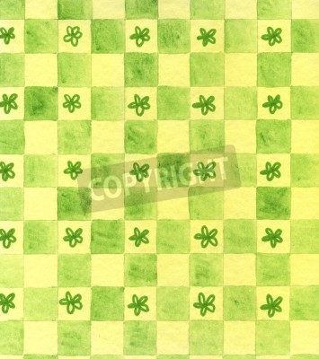 A unique, original hand painted watercolor drawing of a green checkerboard design with hand drawn stars or flowers in some of the squares