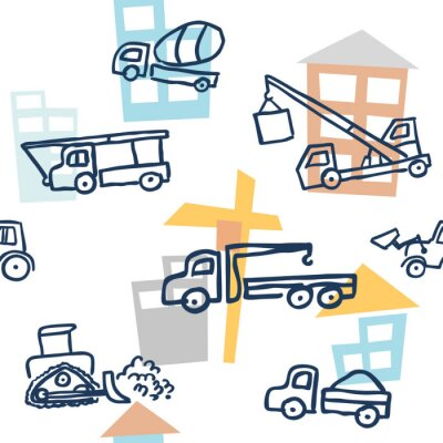 Tapeta A vector seamless pattern with doodle outline style building technics. Auto cranes, bulldozers, trucks and concrete mixers