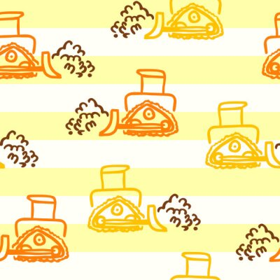 Tapeta A vector seamless pattern with doodle outline style bulldozers. Construction equipment in yellow and orange colors for design