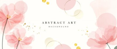 Tapeta Abstract art background vector. Luxury minimal style wallpaper with golden line art flower and botanical leaves, Organic shapes, Watercolor. Vector background for banner, poster, Web and packaging.