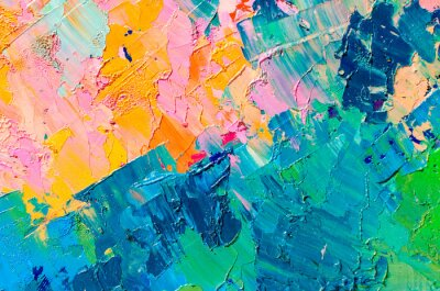 Tapeta Abstract colorful oil painting on canvas. Oil paint texture with brush and palette knife strokes. Multi colored wallpaper. Macro close up acrylic background. Modern art concept. Horizontal fragment.