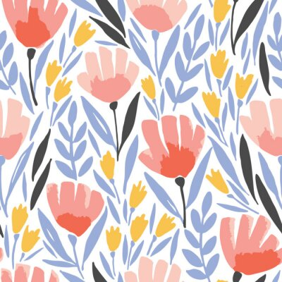 Tapeta Abstract elegance seamless pattern with floral background.