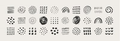 Tapeta Abstract Graphic Elements in Minimal Trendy Style. Vector Set of Hand Drawn Texture for creating Patterns, Invitations, Posters, Cards, Social Media Posts and Stories