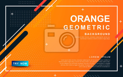Tapeta Abstract orange background. Geometric element design with dots decoration.