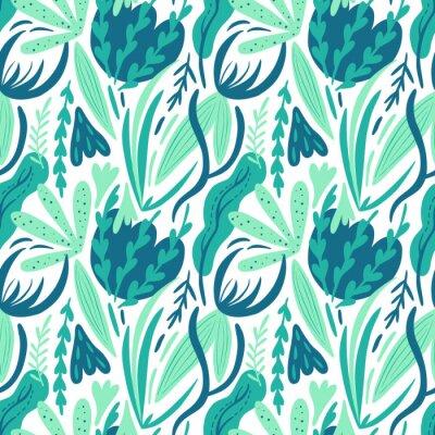 Tapeta Abstract sea plants seamless hand drawing vector pattern