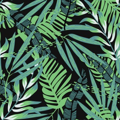 Tapeta Abstract seamless pattern with colorful tropical leaves and plants on black background. Vector design. Jungle print. Floral background. Printing and textiles. Exotic tropics. Summer design.