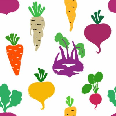 Tapeta Abstract Vegetables Seamless Pattern.