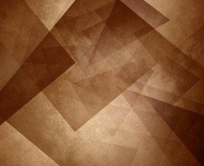 Tapeta abstrakcyjna brązowy sepia tło, elegancki element trójkąta wzór na jasnobrązowej lub tan tle z rocznika tekstury