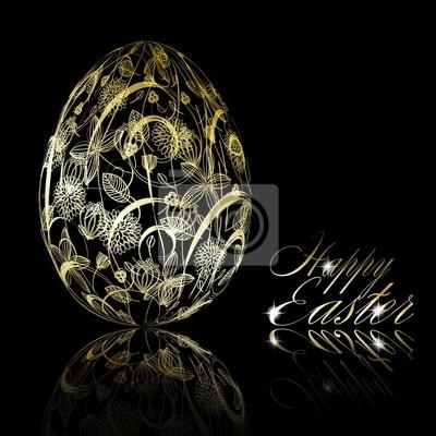 Abstrakcyjna Złoty easter egg na czarnym tle
